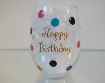 Stemless Birthday Wine Glass