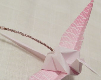 "Beaded Origami ""Crane Drop""//Paper Crane Ornament//Bird Ornament//Cubicle Decoration//Minimalist Mobile//Hostess Gift//Hanging Decoration"