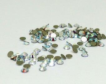 Swarovski Crystal AB Rhinestone, Tiny Round Rhinestone, Flat Back, 2.2mm Xilion Rose, SS7 Loose Rhinestones, Crystal Clear,Foil Back,YC8642