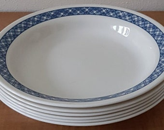 Vintage Corelle Blue Plaid Cereal Bowls~ Set of 6 Blue Plaid on Ivory Cereal Bowls or Salad or Soup Bowls Made in USA