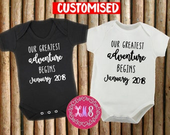 """Customised Pregnancy Announcement Newborn Baby Onesies // Our Greatest Adventure Begins with """"Your Due Month/Year""""//"""