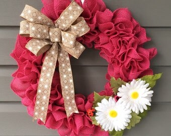 Burlap Wreath, Pink Burlap Wreath, Front Door Wreath, Dasiy Wreath, Summer Wreath, Ladybug Wreath, Burlap Ruffle Wreath