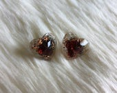Resin Heart Earring Studs with Orgone Energy, Orgone Earrings with Red Garnet, Orgonite Earrings made with eco friendly Resin