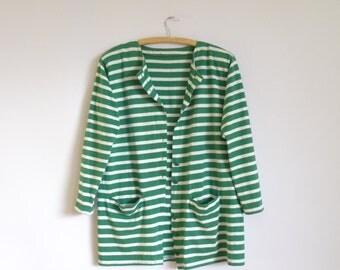 Green With White  Striped Jacket / 80s  Style Vintage  Jacket/  Women's Long Sleeves Jacket/  Cotton Jacket/Buttoning Jacket/Size  Large