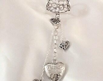 Scarf pendant scarf jewellery scarf bail silver scarf jewellery heart scarf pendant puffed heart chain pendant heart jewellery