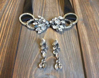CHLOÉ Choker and Earrings · Rhinestones · Evening Jewelry