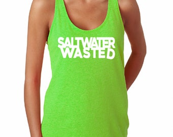 Salt Water Wasted Tank, Beach Tank, Summer Tank