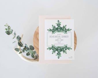 Eucalyptus invitation, Rehearsal dinner invitation, engagement party invitation,rehearsal dinner,eucalyptus,couples shower invitation,invite