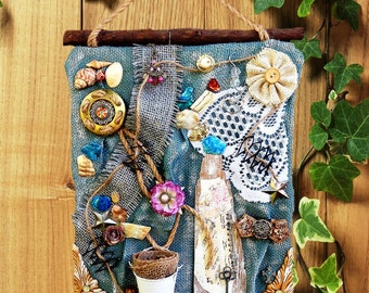 WALL ART – Mixed media wall art, Upcycled wall art, Eclectic style decor, Shabby chic wall art, Altered art, Mixed assemblage art, 3D ART