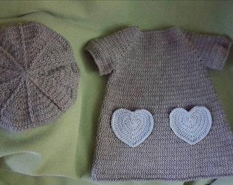 Crochet 12mo Grey Dress w/ Beret