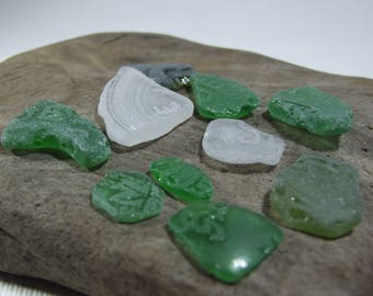 Lettered and Textured smoothed Sea Glass 10 pieces-Genuine Sea Glass#390#