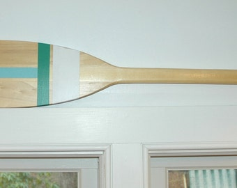 Hand Painted Decorative Canoe Paddle Oar Wall Art - The Green Jay- wood canoe paddle, nautical, decor, rustic, lake,decor,wall hanging