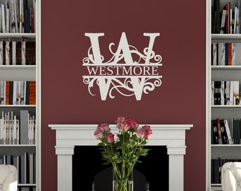 Personalized Last Name & Monogram Swirl - wall vinyl decal, home decor, vinyl sticker, wall art, vinyl lettering, living room art