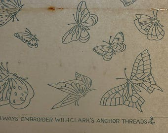 VINTAGE 50s EMBROIDERY TRANSFER..butterflies..Briggs Weldons sewing..Needlewoman Needlecraft 42 April 1950..embroidered moth..tapestry craft