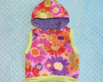 baby fleece vest, floral design, purple hoodie lining