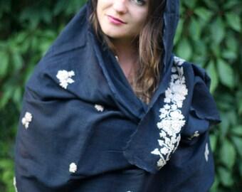 vintage big black shawl / wrap / pareo (pāreu) Hand Embroidery , Flowers, floral pattern
