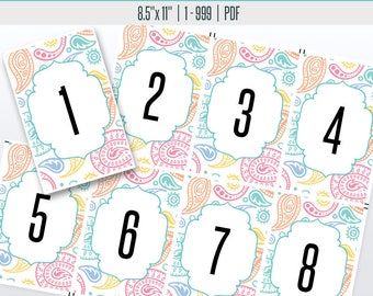 Paisley Live Number Cards(1-999) | Live Sale Numbers, Number Tags, Facebook live numbers