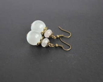 White crystal ball earrings White cat eye gemstone jewelry Rose quartz earrings Big white rose earrings Ball dangle earrings Christmas gift