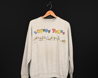 90s Looney Tunes Sweatshirt. 1993 Taz Wile E. Coyote Roadrunner Tweety Sylvester Marvin the Martian Bugs Bunny Daffy Duck Crew Neck.