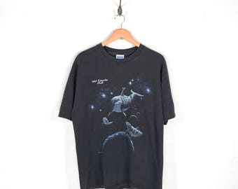 90s Dolphins In Space West Edmonton Mall Souvenir T-Shirt. Radical Vintage Dolphin Moon Stars Spacescape Nature Tee.