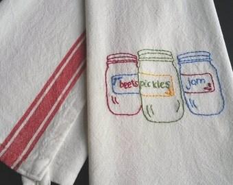Canning jars tea towel pickles tea towel  hand embroidered tea towel, mason jars kitchen decor, canning, country kitchen decor