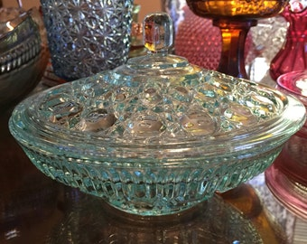 Vintage Glass Covered Candy Dish - Windsor Aqua by Indiana Glass