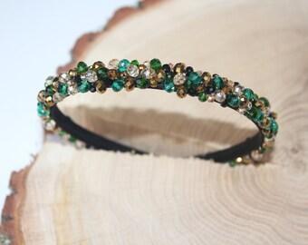 Bridal rhinestone headband Green Crystal Tiara Emerald gold Embroideried headband gold flower girl headband green gemstone bridasmaid