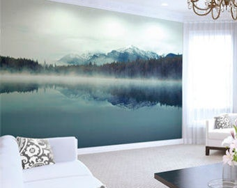 Large Lake Photo Wallpaper Wall Mural for Dining Room, Living Room Decor, Bedroom Decor, Office Wall Art - Cloudy Peaks Wallpaper
