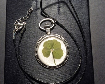 Real 4 leaf Clover Pocket Watch Necklace