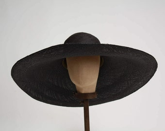 Straw Hat, Beach Hat, Oversized Straw Hat, Black Straw, Summer Straw Hat