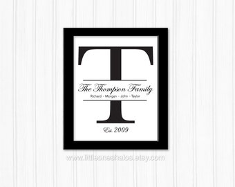 Personalized Family Name Wall Art- Family Name Sign- Printable Family Letter- Family Letter Wall Art- Custom Family Name- Digital Download