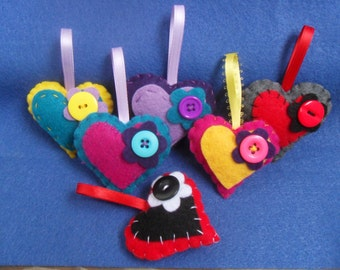 Hand Sewn Felt Heart Keychains or Ornaments