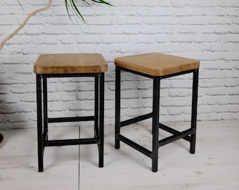 Oak and Steel Coffee Table/ Side Table/ Stool - Rustic Modern Industrial Chic
