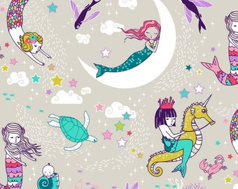 Mermaid Lullaby Quilting Fabric. Fabric by the Yard. Cotton Knit Jersey Minky. Fairytale Girl Nursery Moon Ocean Mermaids Seahorse Turtle