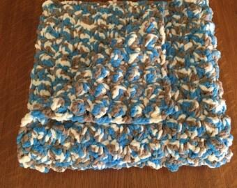 Sale! Crochet Baby Boy Blanket, stroller blanket, car seat blanket, play mat