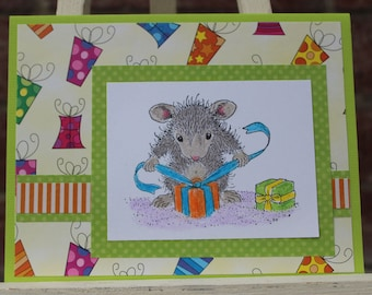 House Mouse birthday card, Mouse with gift birthday card, Mouse birthday card, Birthday Card