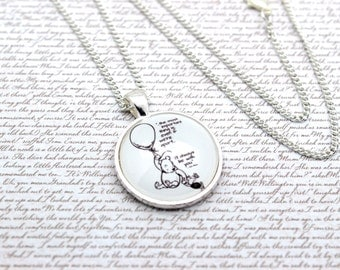 Winnie the Pooh, 'I'll Always Be With You' Pooh Bear Quote Necklace or Keychain, Keyring