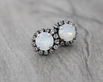 White opal earrings, Opal stud earrings, Bridal earrings, Bridesmaid earrings, Swarovski earrings, Bridal jewelry, Crystal stud earrings