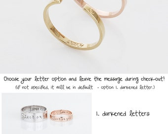 Custom Name Band Ring, Gold Initial Band Ring, Rose Gold Initial Ring, Personalized Memorial Jewelry, Gift for Women