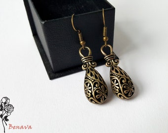 Earrings drop earrings retro bronze vintage