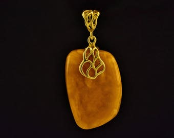 Antique Amber, Vintage Baltic Amber, Antique Pendant, Amber Pendant, Gold Plated Pendant, Amber Jewelry, Antique Amber Jewelry,