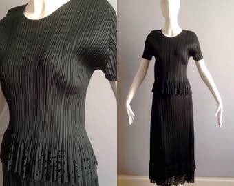 Vintage ISSEY MIYAKE Pleats Please 2 Piece Ensemble ~ Forest Green Modernist Maxi Skirt ~Modern Laser Cut Floral Trim Top ~ Formal Dress Set