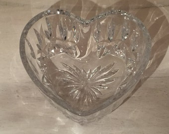 Vintage Crystal Heart Shaped Bowl / Candy Bowl