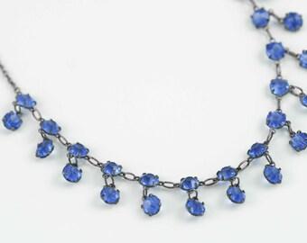 Vintage Art Deco Necklace Blue Crystal Open Back Bezel Set - Delicate