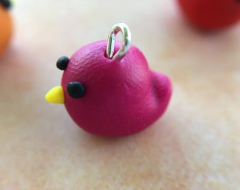 little bird polymer clay charm and chain