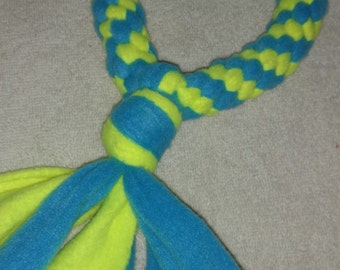 Fleece dog toy-dog tug toy-in neon yellow and light blue fabric