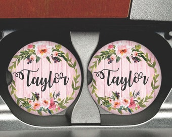 Personalized Car Coasters  - Sandstone Coaster - Personalized Sandstone Car Coaster - Coasters - Car Accessories - Watercolor Flowers