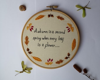 Autumn Hand Embroidered Hoop Embroidery. Wall Art. Hoop Art Autumnal. Fall. Leaves, Acorns, Hips. 6 inch **READY TO SHIP**
