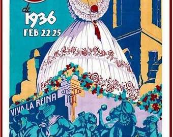 Vintage 1936 Panama Carnival Tourism Poster A3 Print