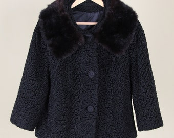 Lambswool Coat with Mink Fur Collar